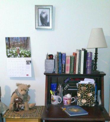 desk and books