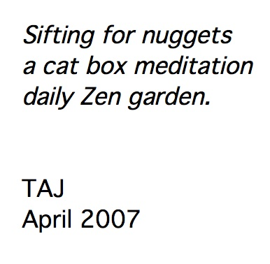 Cat box haiku. Apologies to the serious poets.