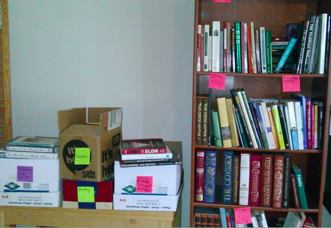 books on bookcase and in boxes