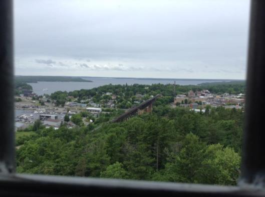 View of forest, Georgian Bay and CPR rail bridge in Parry Sound