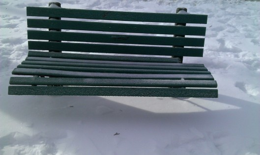 park bench winter