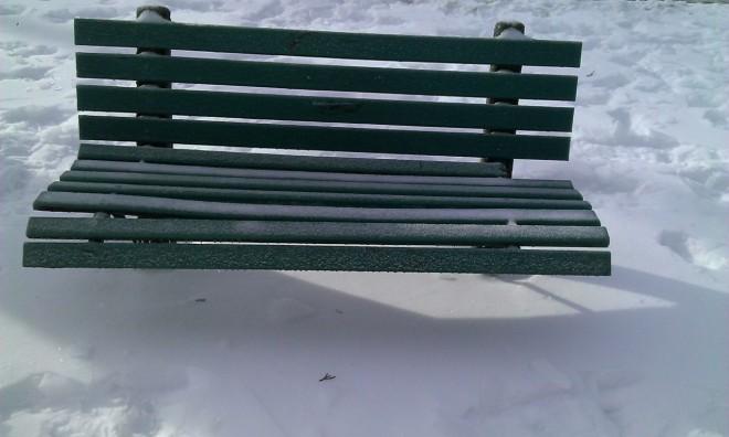 park bench winter