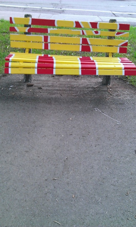 park bench painted spring