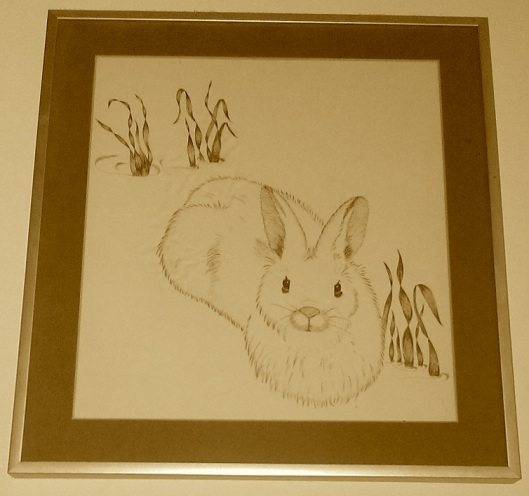 Winter Forest Rabbit ballpoint pen drawing