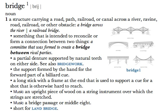bridge one dictionary definition
