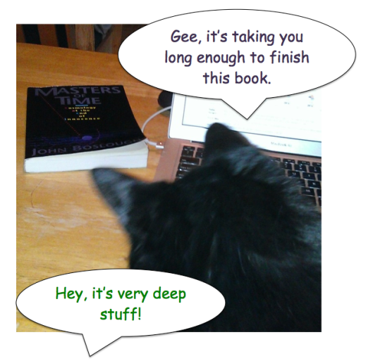 comic speech bubbles of black cat critiquing human reading efforts