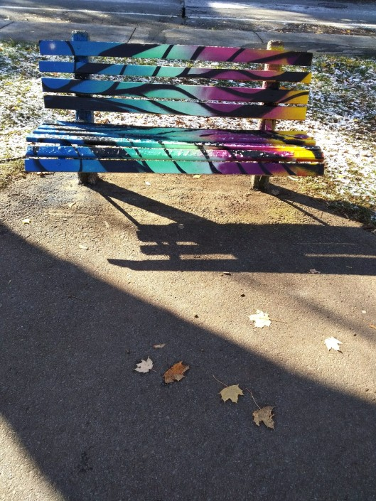 park bench painted