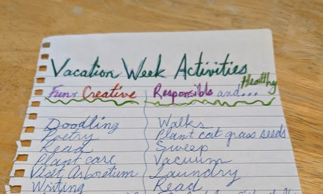 written list of thing to do during pandemic vacation