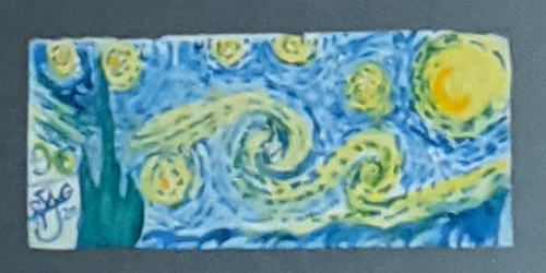 Watercolour rendition of Vincent van Gogh's Starry Night